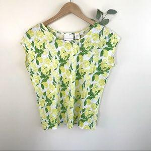 Cynthia Rowley Lemon Yellow Linen Crop T-shirt Top